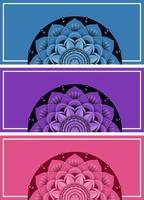 blauwe, paarse, roze achtergrondbanners met mandalapatronen vector