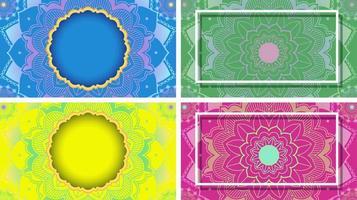 achtergrond sjabloon met mandala ontwerpset