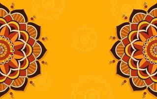 geel, oranje achtergrondontwerp met mandalapatronen vector