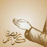 hand van moslimmensen die bidden om ramadan te vieren vector