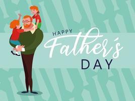 gelukkige vaderdagkaart met vader en kinderen