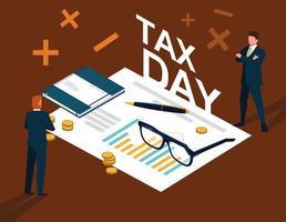 zakenlieden in belastingdag met statistische documenten vector