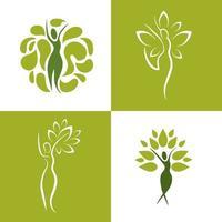 set van wellness-iconen van vrouwen met de natuur