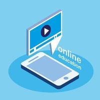 online onderwijs met smartphone vector