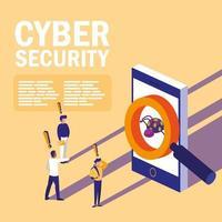 mini-mensen met geïnfecteerde smartphone en cyberveiligheid