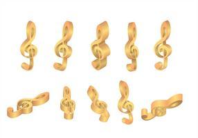 Viool sleutel gouden pictogrammen vectoren