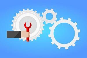 hand met rode moersleutel voor het instellen van versnelling vector