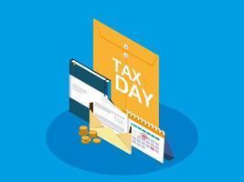 belastingdag met Manilla-envelop en bedrijfspictogrammen vector