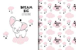 droom grote babyolifant en wolken tekenen en patroon