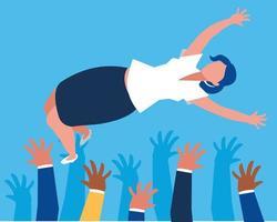 succesvolle zakenmensen die karakters vieren vector