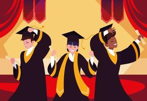 afstuderende studenten in feestontwerp vector