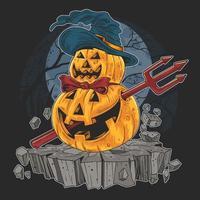 halloween-pompoen met duivelshoed en stok