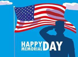 gelukkige herdenkingsdagkaart met de vlag van de vs