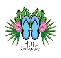 sandalen met tropische bloemen vector
