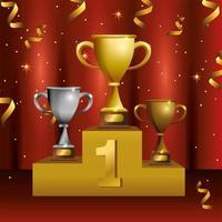 award viering sjabloonontwerp met podium en trofeeën
