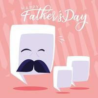 gelukkige vaderdag met gezicht en tekstballonnen