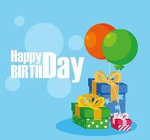 gelukkige verjaardagskaart met geschenkdozen en ballonnen helium