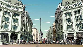 kleurenschets van een stadsgezicht in Engeland