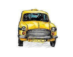 kleurenschets van een oude taxi