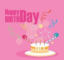 gelukkige verjaardagskaart met zoete cake en kaarsen