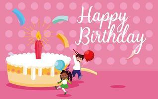 verjaardagskaart met kleine kinderen vieren