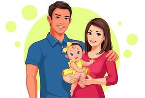 vader en moeder met dochter vector