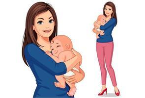mooie moeder met haar schattige kleine baby vector