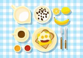 Ontbijt Tafel Set Gratis Vector