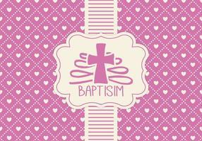 Roze Baptisim Kaart Sjabloon vector