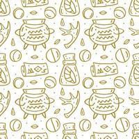 hekserij schattig doodle hand getrokken naadloze patroon