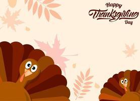 kalkoenen met herfstbladeren thanksgiving day-kaart