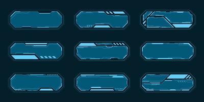 blauwe abstracte technologie kaderset vector