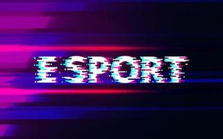 e sportglitch op kleurrijke dynamische achtergrond vector