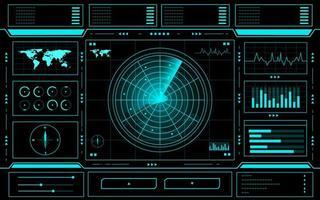 radar bedieningspaneel technologie interface hud vector