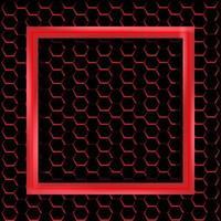 rood vierkant frame met metalen zeshoekig patroon