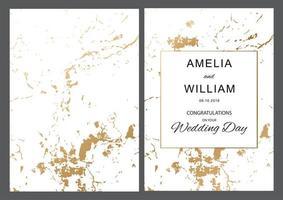 bruiloft gouden folie textuur met gouden frame kaart vector