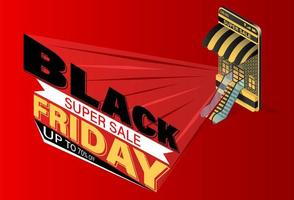 zwarte vrijdag mobiele verkoop concept vector