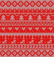 wit en rood gebreid patroon met bomen en harten vector