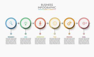 verbonden pijl circulaire 6 stappen infographic