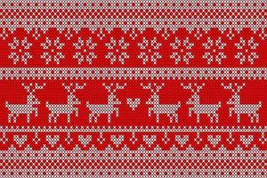 wit en rood gebreid patroon met herten vector