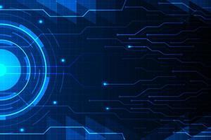 blauwe cirkel en circuitlijn op futuristisch hud-patroon vector