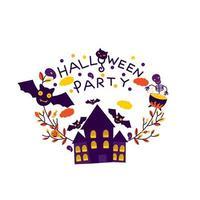halloween-feestkaart met spookhuis
