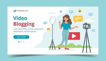 vrouwelijke video blogger video-opname met camera en licht