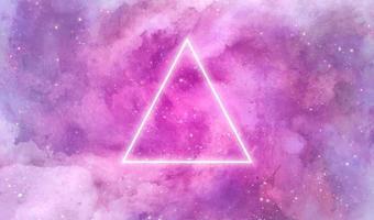 Galaxy aquarel textuur met neon driehoek