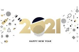 gouden 2021 nieuwjaarsontwerp met vakantiepictogrammen vector