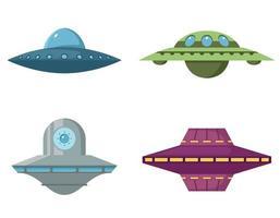 set van diverse vliegende schotels vector