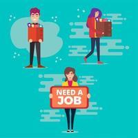 verschillende ontslagen werknemerspersonages in vlakke stijl