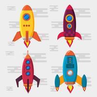 verschillende raketten die in vlakke stijl omhoog vliegen