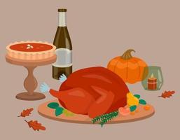 Thanksgiving-diner met gebakken kalkoen vector