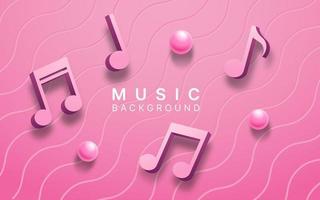roze 3d muzieknota's over roze golvenpatroon vector
